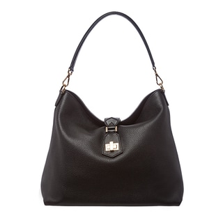 Fendi Black Leather Clasp-top Hobo Bag