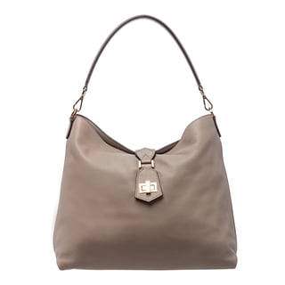 Fendi Taupe Leather Clasp-top Hobo Bag