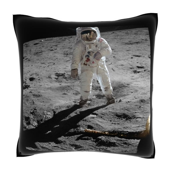 Buzz Aldrin on the Moon 18-inch Velour Throw Pillow