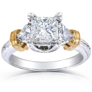 Annello 14k Two-tone Gold 1 7/8ct TDW Certified Princess Trillion-cut Diamond Engagement Ring (H-I, I1)