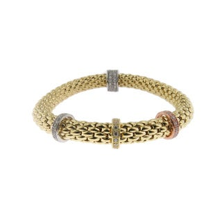 Tri-tone 18k Gold-plated Sterling Silver Stretch Bracelet (Italy)