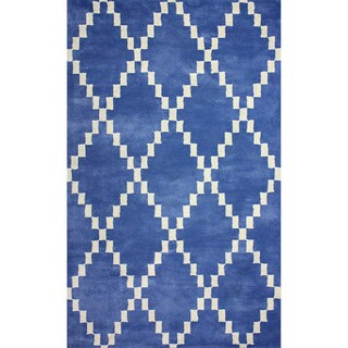nuLOOM Flatweave Pixel Trellis Blue Wool Rug (7'6 x 9'6)