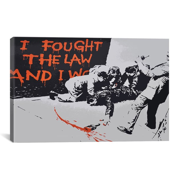 Banksy 'I Fought The Law And I Won' Gallery Wrapped Canvas Art