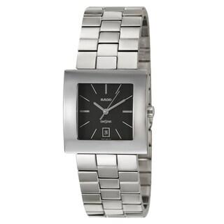 Rado Men's 'Diastar' Stainless Steel Black Dial Swiss Quartz Watch