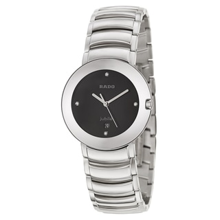 Rado Men's 'Coupole Jubile' Black Dial Stainless Steel Swiss Quartz Watch