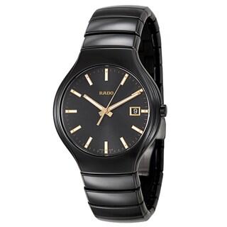 Rado Men's 'True' Black Ceramic Dial Swiss Quartz Watch