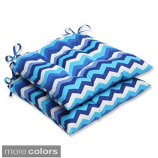 Pillow Perfect Panama Wave Wrought Iron Seat Outdoor Cushions (Set of 2)