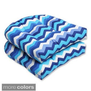 Pillow Perfect Panama Wave Wicker Seat Outdoor Cushions (Set of 2)
