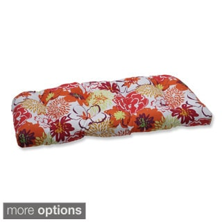 Pillow Perfect Floral Fantasy Wicker Loveseat Outdoor Cushion