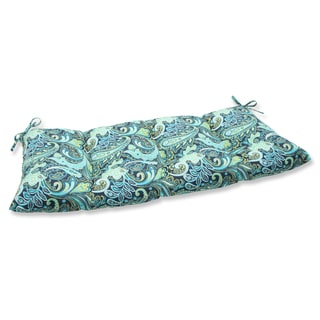 Pillow Perfect Pretty Paisley Navy Wrought Iron Loveseat Outdoor Cushion