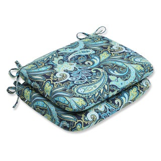 Pillow Perfect Pretty Paisley Navy Rounded Corners Seat Outdoor Cushions (Set of 2)