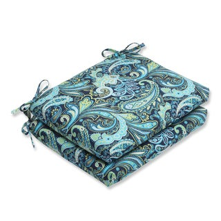 Pillow Perfect Pretty Paisley Navy Squared Corners Seat Outdoor Cushions (Set of 2)