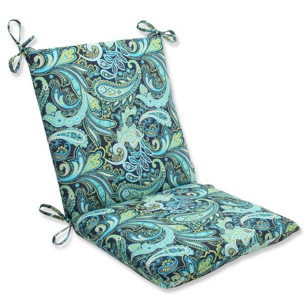 Pillow Perfect Pretty Paisley Navy Squared Corners Chair Outdoor Cushion