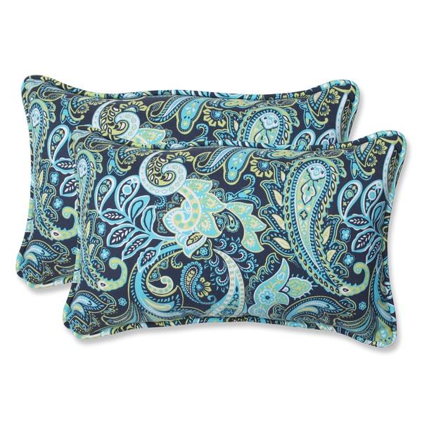 Pillow Perfect Pretty Paisley Navy Rectangular Outdoor Throw Pillows (Set of 2) - 16012025 ...