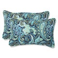 Pillow Perfect Pretty Paisley Navy Rectangular Outdoor Throw Pillows (Set of 2)