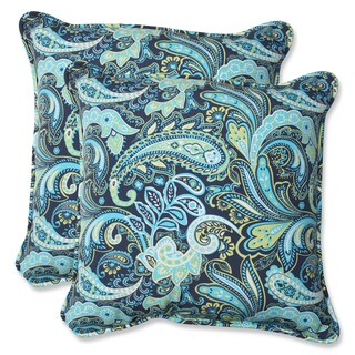 Pillow Perfect Pretty Paisley 18.5-inch Navy Outdoor Throw Pillow (Set of 2)