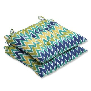 Pillow Perfect Zulu Blue/ Green Wrought Iron Seat Outdoor Cushions (Set of 2)