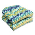 Pillow Perfect Outdoor Zulu Blue/Green Wicker Seat Cushion (Set of 2)