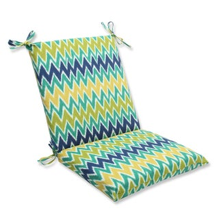Pillow Perfect Outdoor Zulu Blue/Green Squared Corners Chair Cushion
