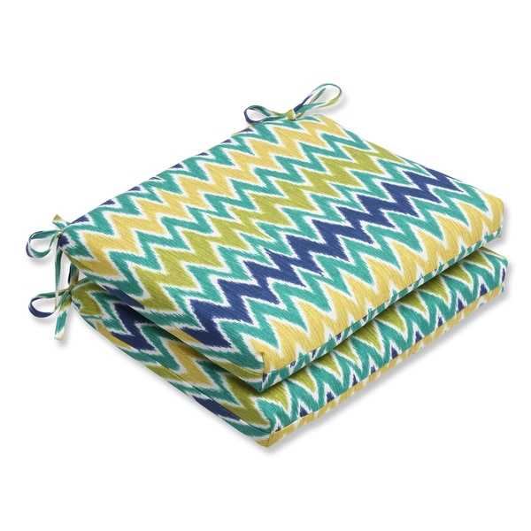 Pillow Perfect Outdoor Zulu Blue/Green Squared Corners Seat Cushion (Set of 2)