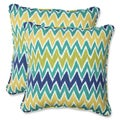 Pillow Perfect Outdoor Zulu Blue/Green 18.5-inch Throw Pillow (Set of 2)