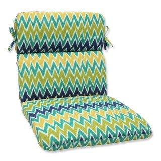 Pillow Perfect 'Zulu' Blue/ Green Rounded Outdoor Chair Cushion