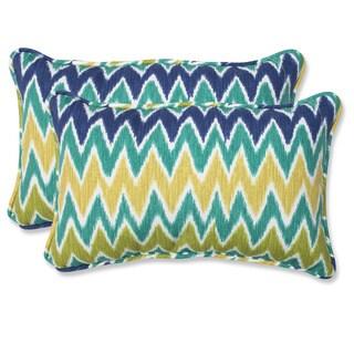 Pillow Perfect 'Zulu' Blue/ Green Outdoor Throw Pillows (Set of 2)