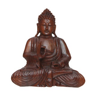 Hand-carved Suar Wood Buddha Statue (Indonesia)