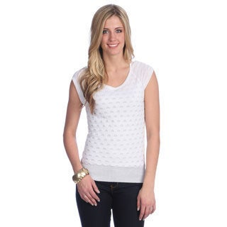 Hadari Women's White Sleeveless Open-knit Sweater