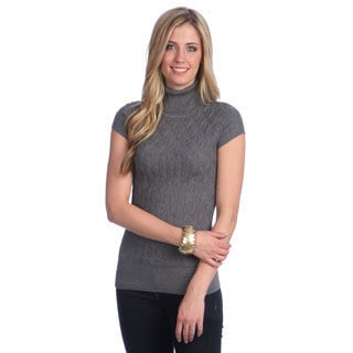 Women's Grey Diamond-knit Sleeveless Turtleneck