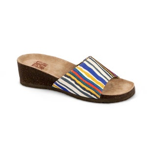 Muk Luks Women's 'Lea' Blue Striped Slide Wedge Sandals