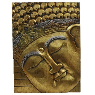 Hand-carved Goldtone Wooden Buddha Panel (Indonesia)