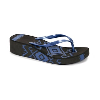 Muk Luks Women's Dark Chocolate and Blue Wedge Flip Flops