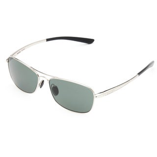 Bolle Men's 'Ventura' Shiny Silvertone Aviator Sunglasses