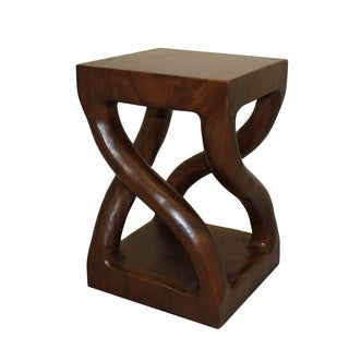 Casa Cortes Hand-carved Genuine Trembesi Wood Stool (Indonesia)