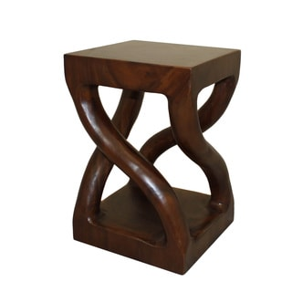 Casa Cortes Hand-carved Genuine Trembesi Wood Stool (Indonesia)
