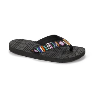 Muk Luks Women's Checkered Zig-zag Sport Flip-flops