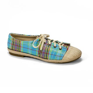 Muk Luks Women's 'Paige' Turquoise Plaid Canvas Sneakers