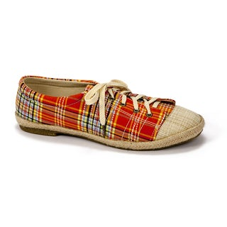 Muk Luks Women's 'Paige' Orange Plaid Canvas Sneakers