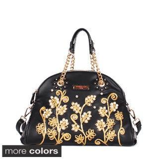 Nicole Lee 'Tilly' Beaded Flowers Satchel Bag