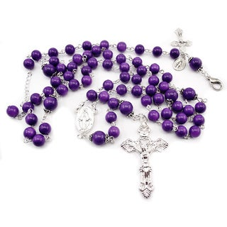 Purple Glass Bead Rosary and Bracelet Jewelry Set