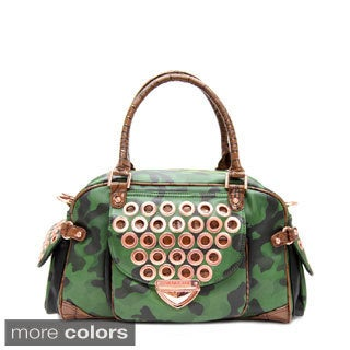 Nicole Lee 'Teagan' Camouflage Print Boston Bag
