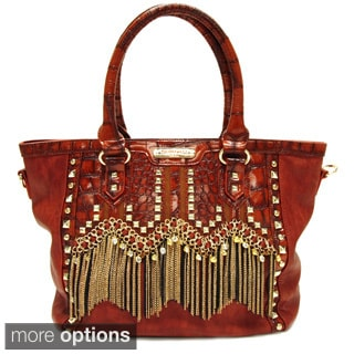 Nicole Lee 'Tatiana' Chain Fringe Tote Bag