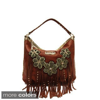 Nicole Lee 'Sutton' Flowers and Fringe Hobo Bag