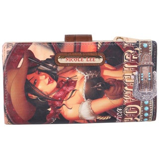 Nicole Lee Cowgirl Wheel Print Wallet