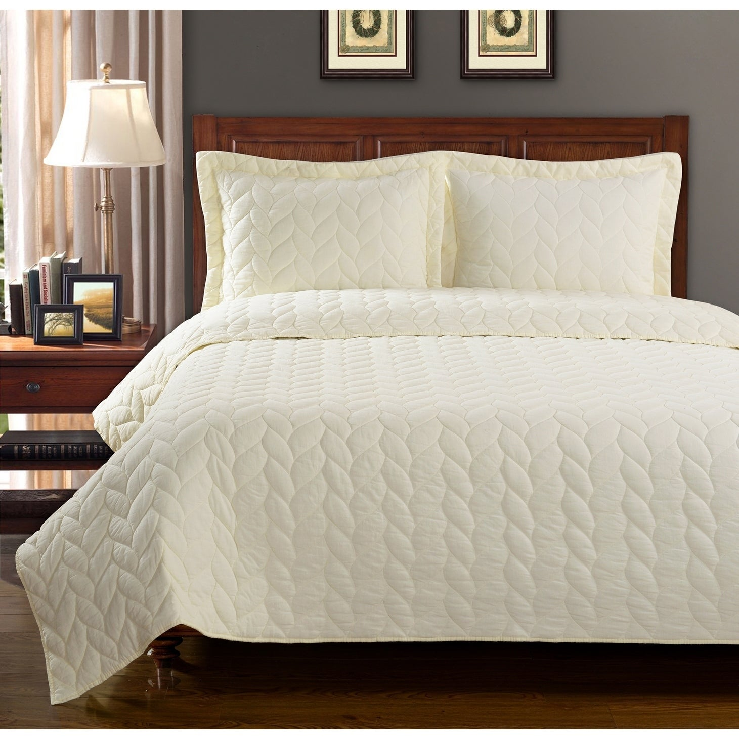 Overstock.com Ashley Braided Cotton 3-piece Quilt Set at Sears.com