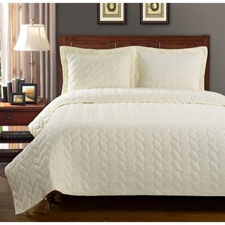 Luxor Treasures Ashley Braided Cotton 3-piece Quilt Set