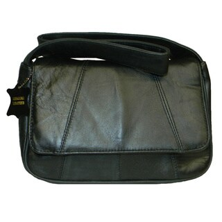 Hollywood Tag Black Lambskin Leather Flap-over Shoulder Bag