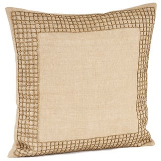Beaded Design Burlap Down Filled Throw Pillow
