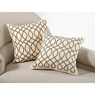 Swirl Design Beaded Down Filled Throw Pillow